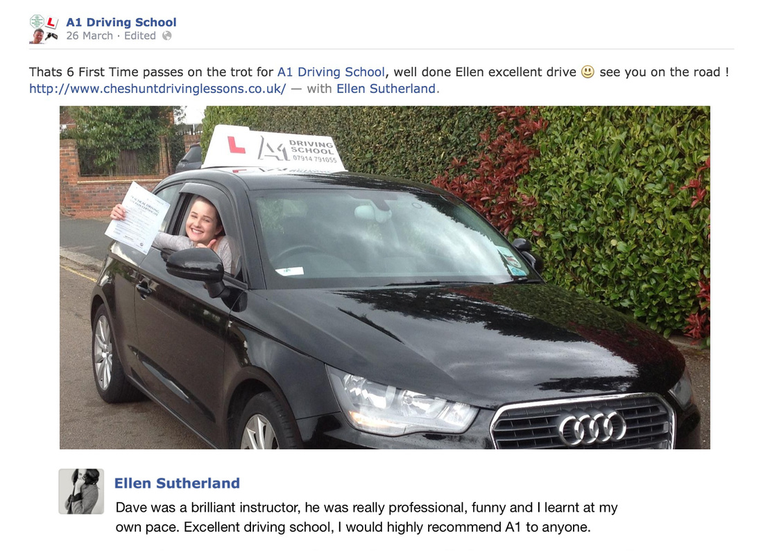 Ellen's first time pass with driving lessons cheshunt review picture